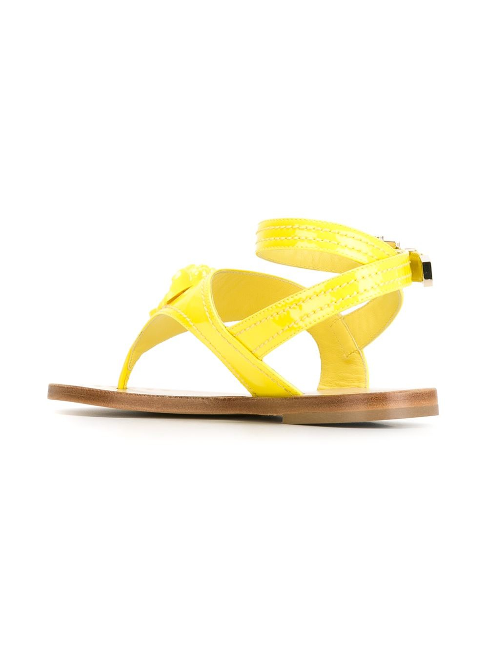 Versace Medusa Thong Strap Sandals In Yellow Lyst