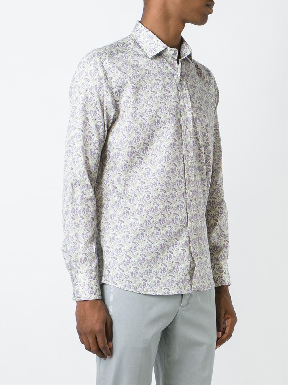 Etro paisley print shirt in white for men lyst for Etro men s shirts