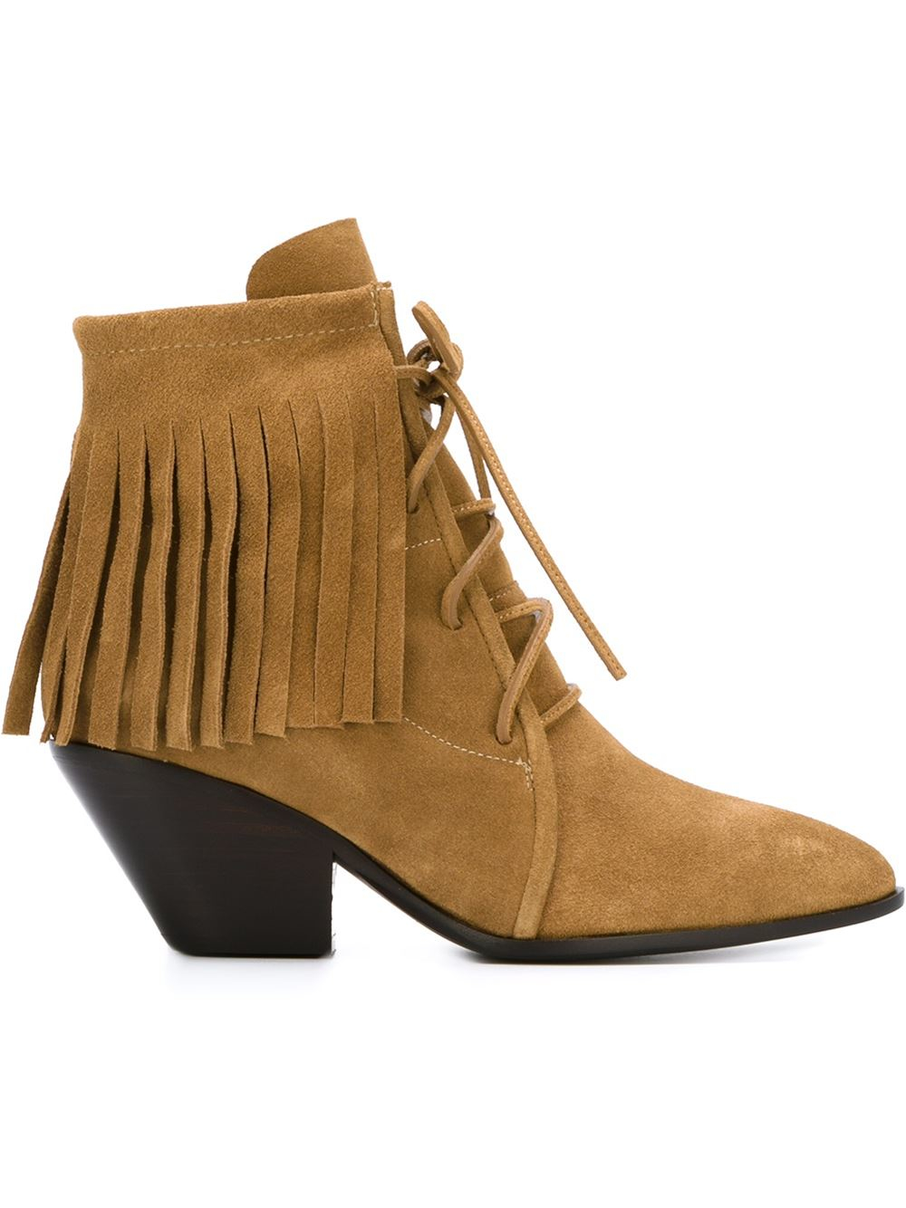 giuseppe zanotti fringed boots in brown lyst