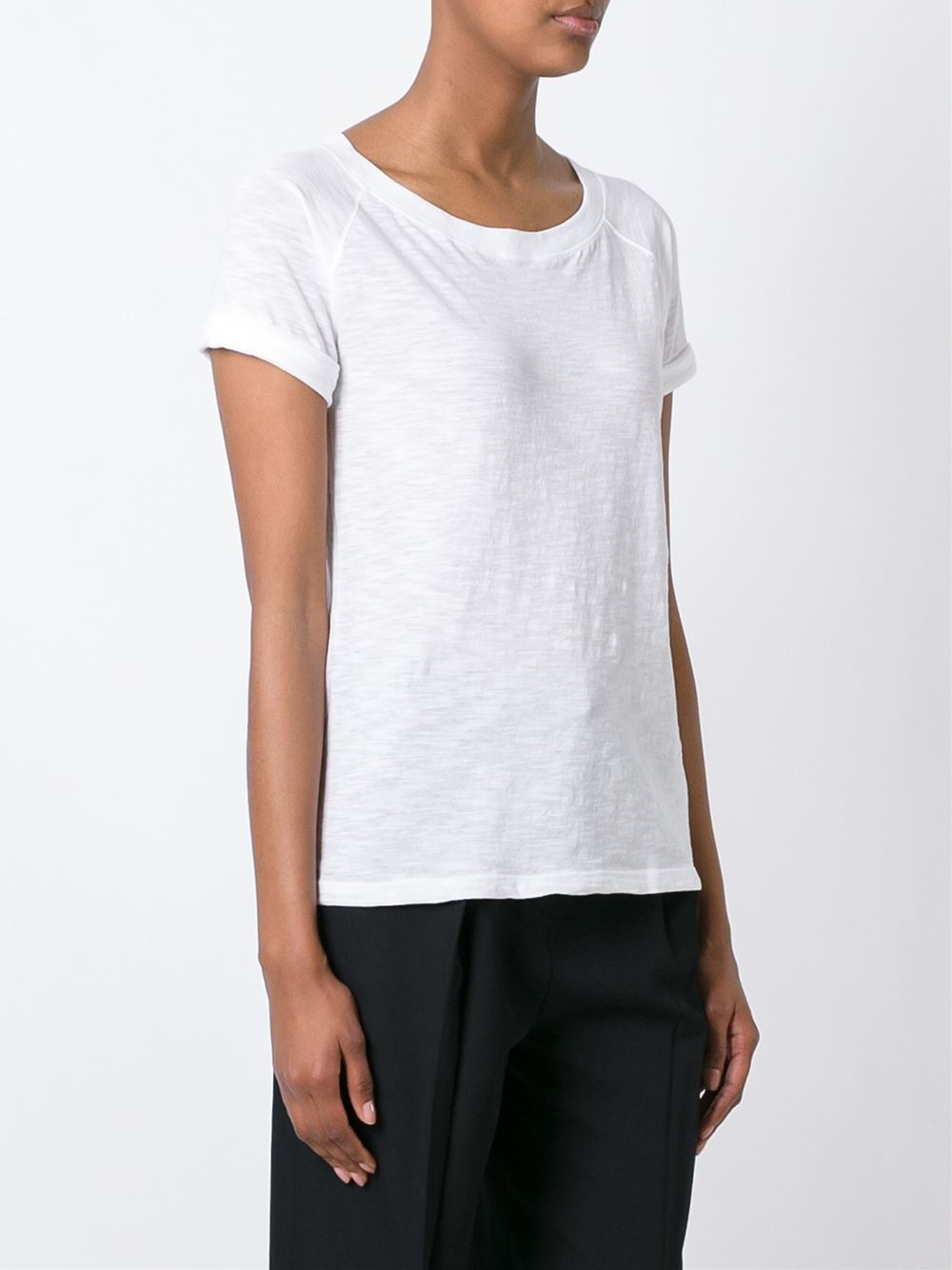 Vince Scoop Neck T Shirt In White Lyst