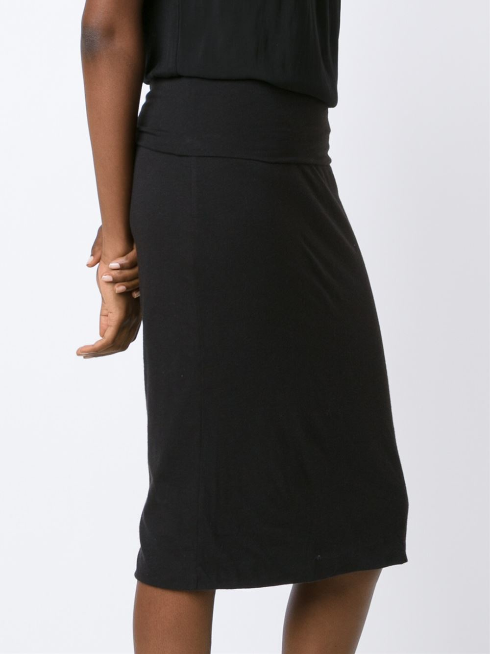 raquel allegra jersey pencil skirt in black lyst