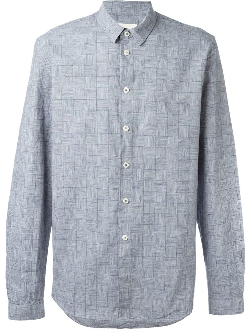 Folk 39 Tau 39 Checked Pattern Button Down Shirt In Blue For