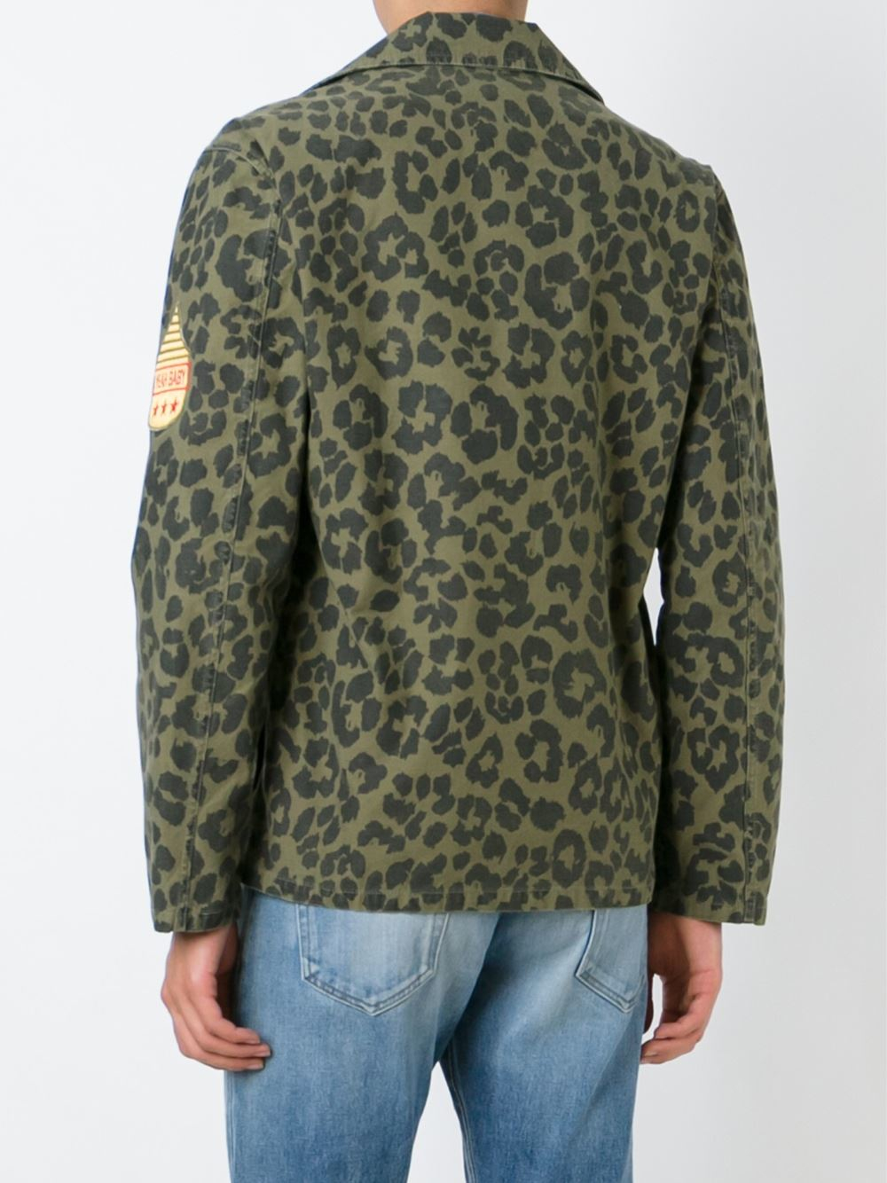 Lyst Saint Laurent Leopard Print Jacket In Green For Men