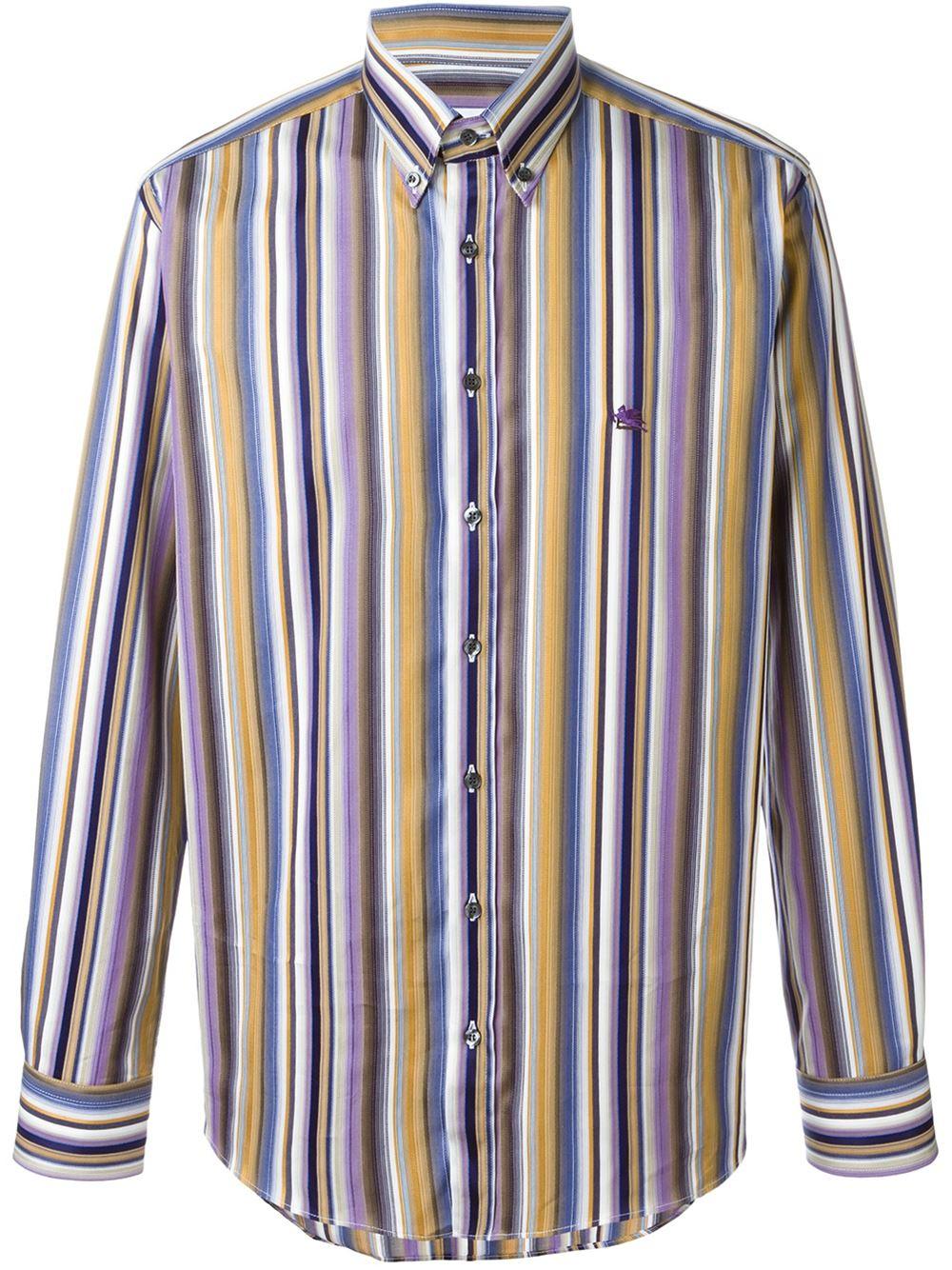 Etro striped button down shirt for men lyst for Striped button down shirts for men