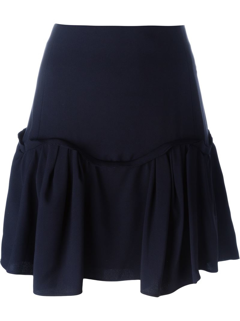 chlo 233 pleated hem a line skirt in black lyst