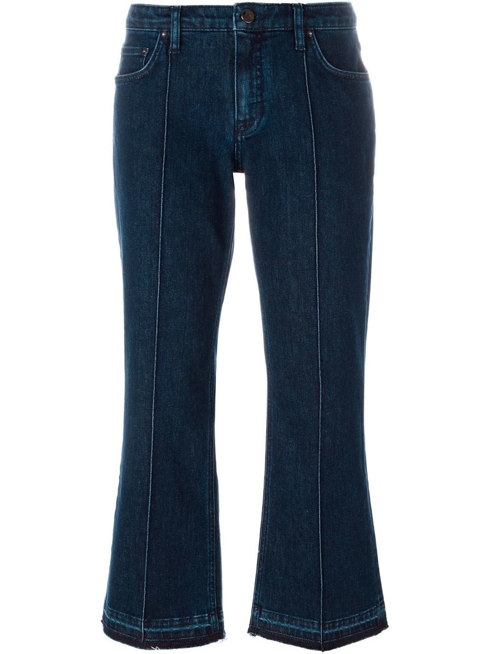 victoria beckham flared cropped jeans in blue lyst. Black Bedroom Furniture Sets. Home Design Ideas