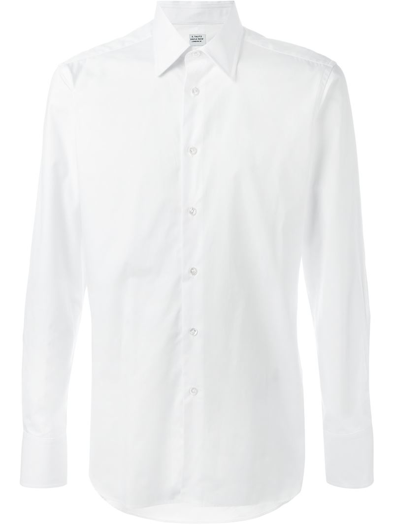 E Tautz Cutaway Collar Shirt In White For Men Lyst