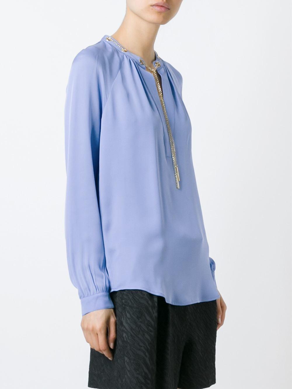 michael michael kors band collar blouse in blue lyst. Black Bedroom Furniture Sets. Home Design Ideas