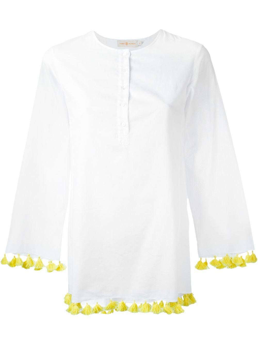 Tory burch tassel hem button down blouse in yellow lyst for Tory burch button down shirt