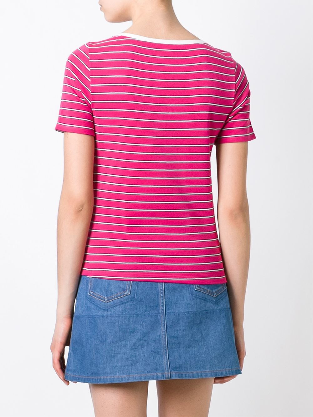 Sonia by sonia rykiel striped boat neck t shirt in pink for Purple and black striped t shirt