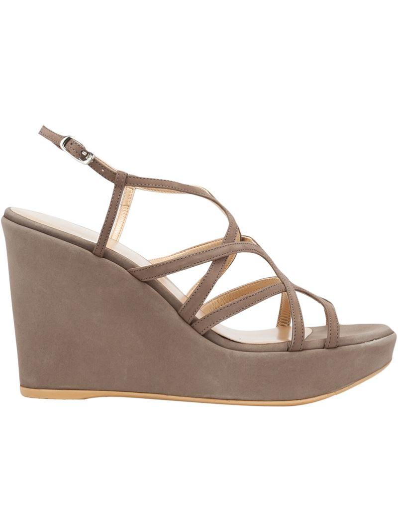 stuart weitzman suede wedge sandals in gray grey lyst