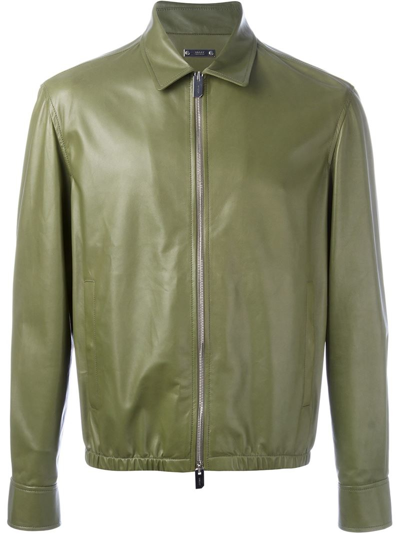 Bally Zipped Leather Jacket In Green For Men Lyst