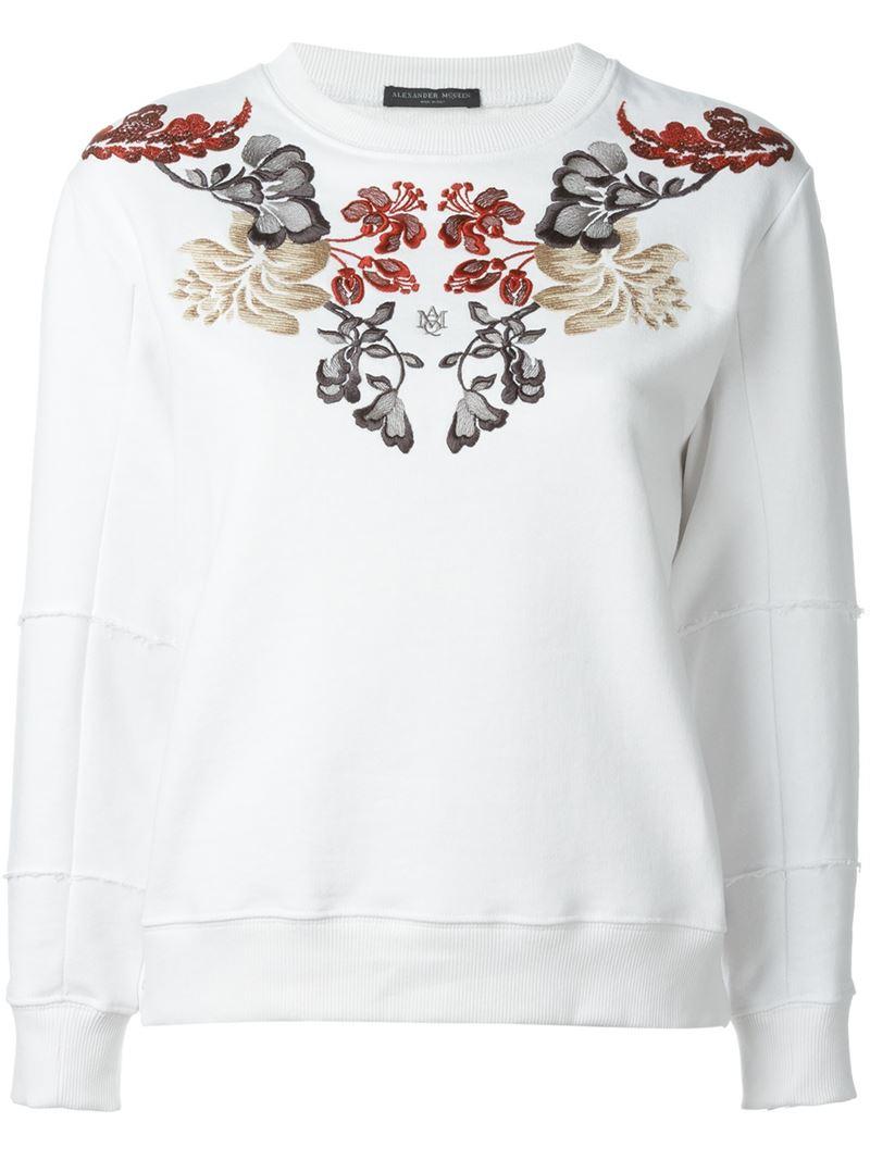 Alexander mcqueen floral embroidered sweatshirt in white