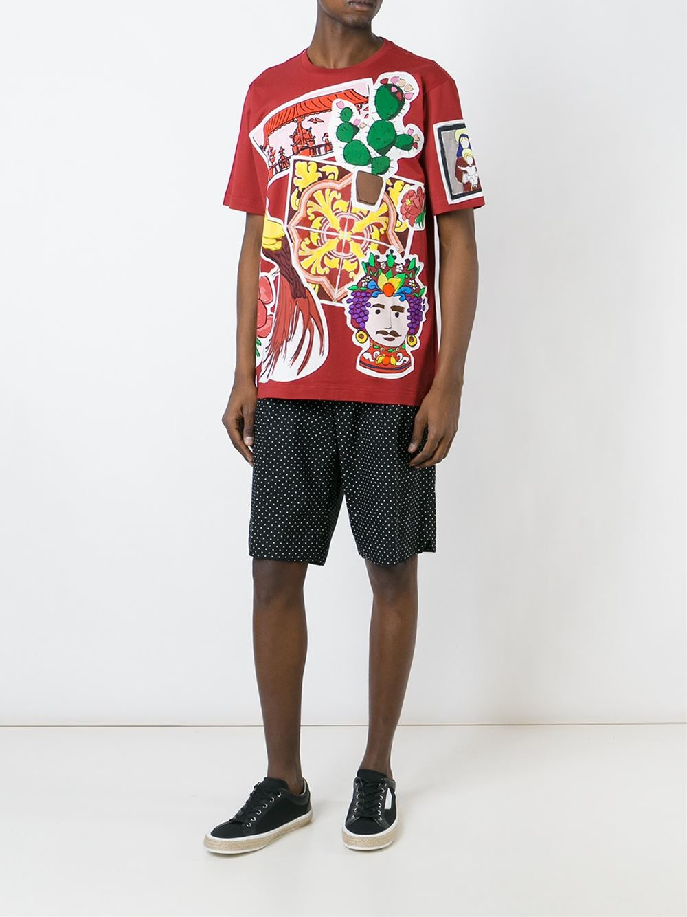 Dolce gabbana printed t shirt in red for men lyst for Dolce and gabbana printed t shirts