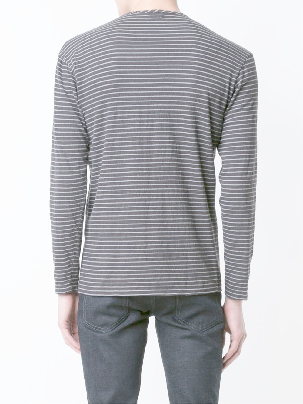 Lyst cwst long sleeve striped t shirt in black for men for Mens striped long sleeve t shirt