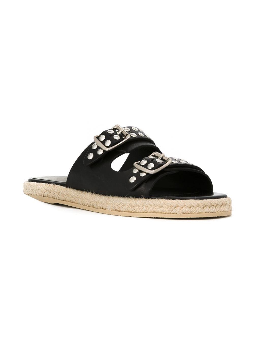 Saint Laurent Studded Calfskin Sandals In Black Lyst