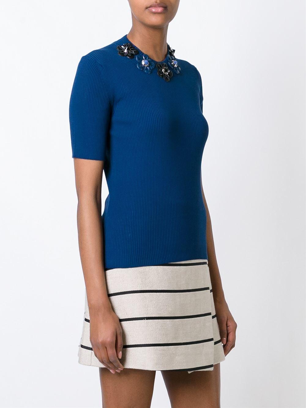 Fendi Flower Appliqu T Shirt In Blue Lyst