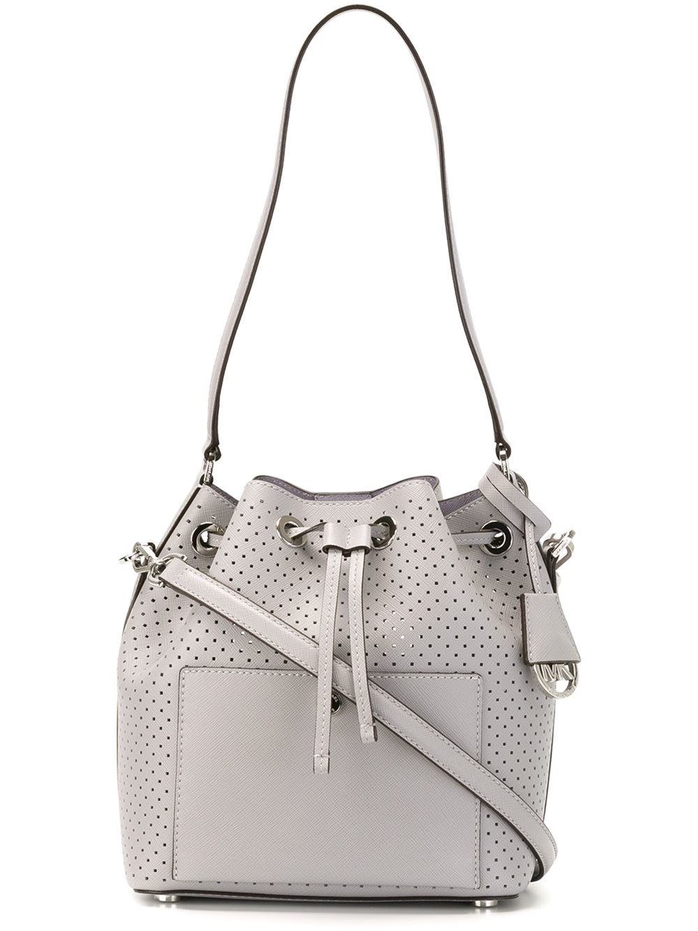 michael michael kors 39 greenwich 39 bucket bag in gray lyst. Black Bedroom Furniture Sets. Home Design Ideas
