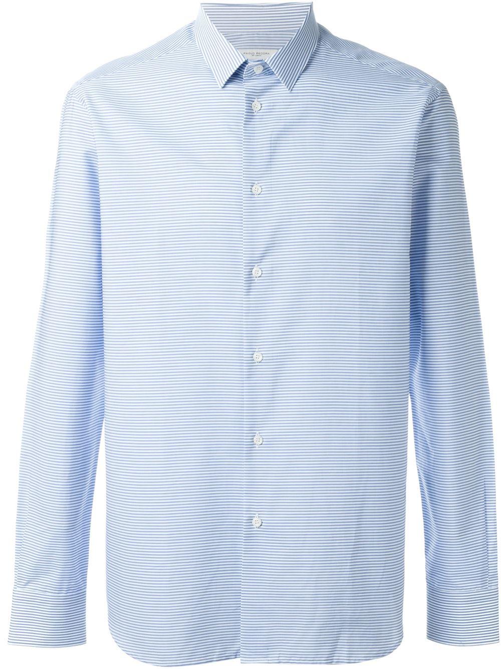Paolo pecora striped button down shirt in white for men lyst for Striped button down shirts for men