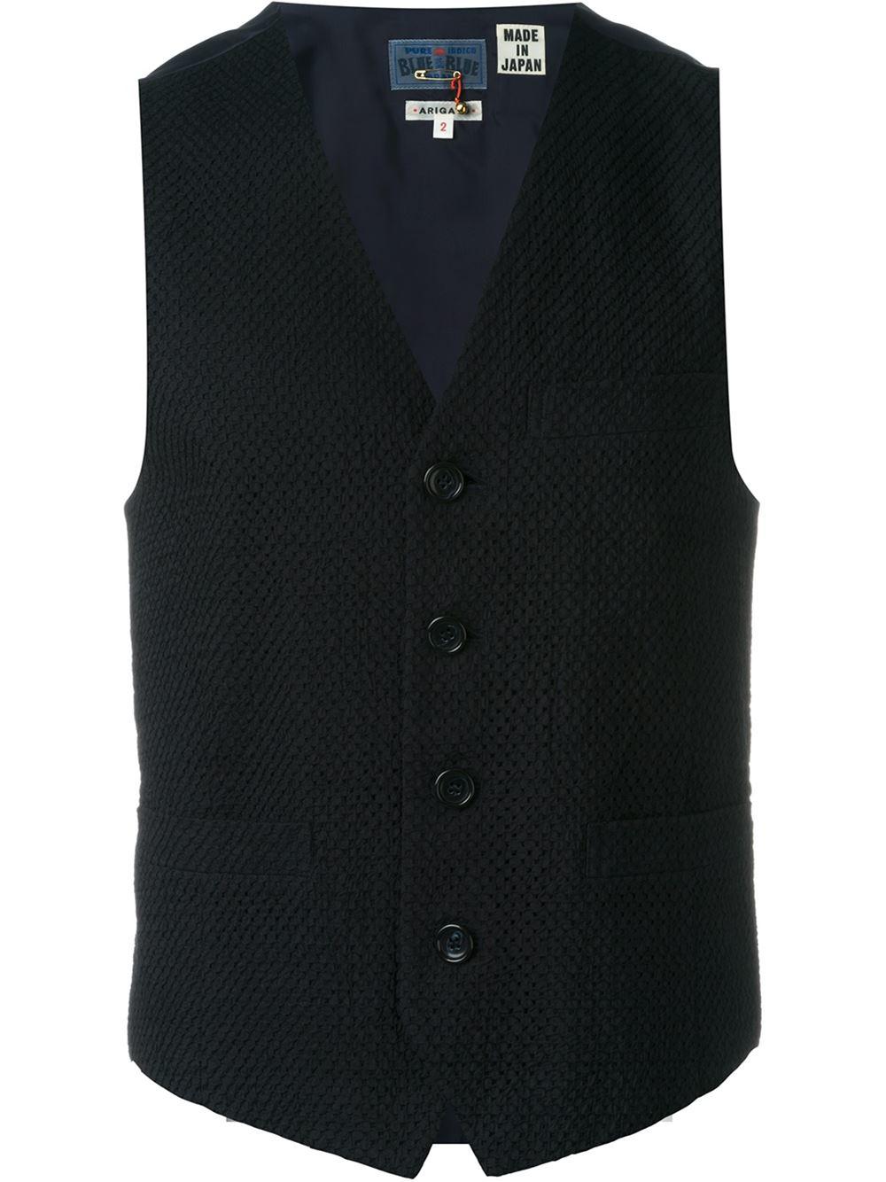 Blue blue japan Knitted Waistcoat in Black for Men