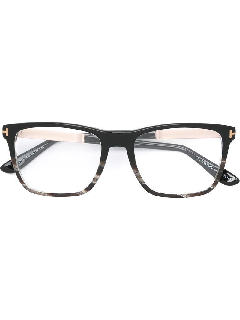 Tom ford Square Frame Glasses in Black for Men Lyst