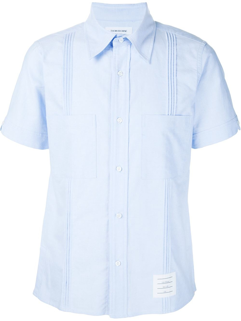 Thom browne shortsleeved shirt in white for men blue for Thom browne shirt sale
