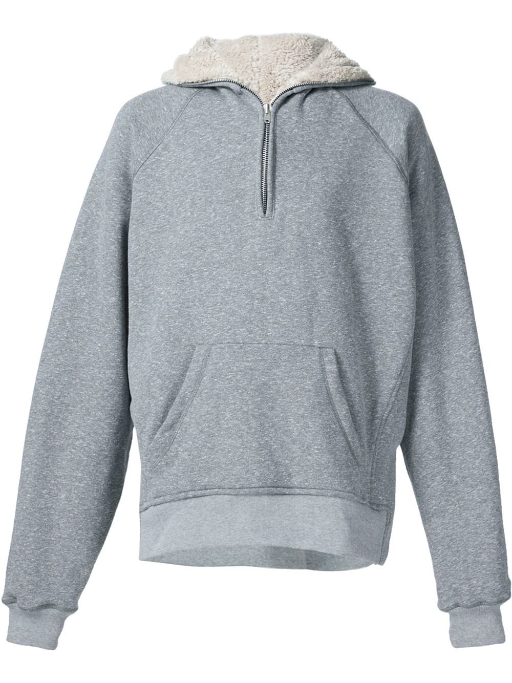 Fear Of God Half Zip Sherpa Hoodie In Gray For Men Lyst