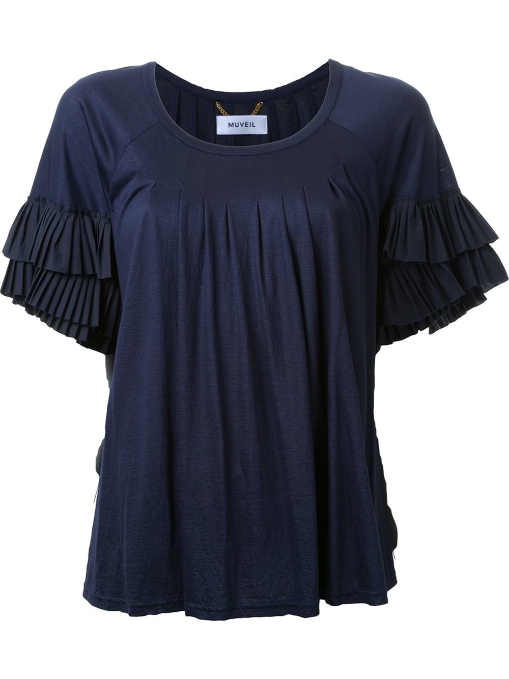 Muveil ruffle sleeve pleated t shirt in blue lyst for Frill sleeve t shirt