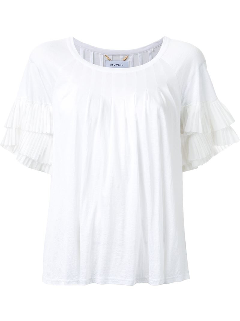Muveil ruffle sleeve pleated t shirt in white lyst for Frill sleeve t shirt