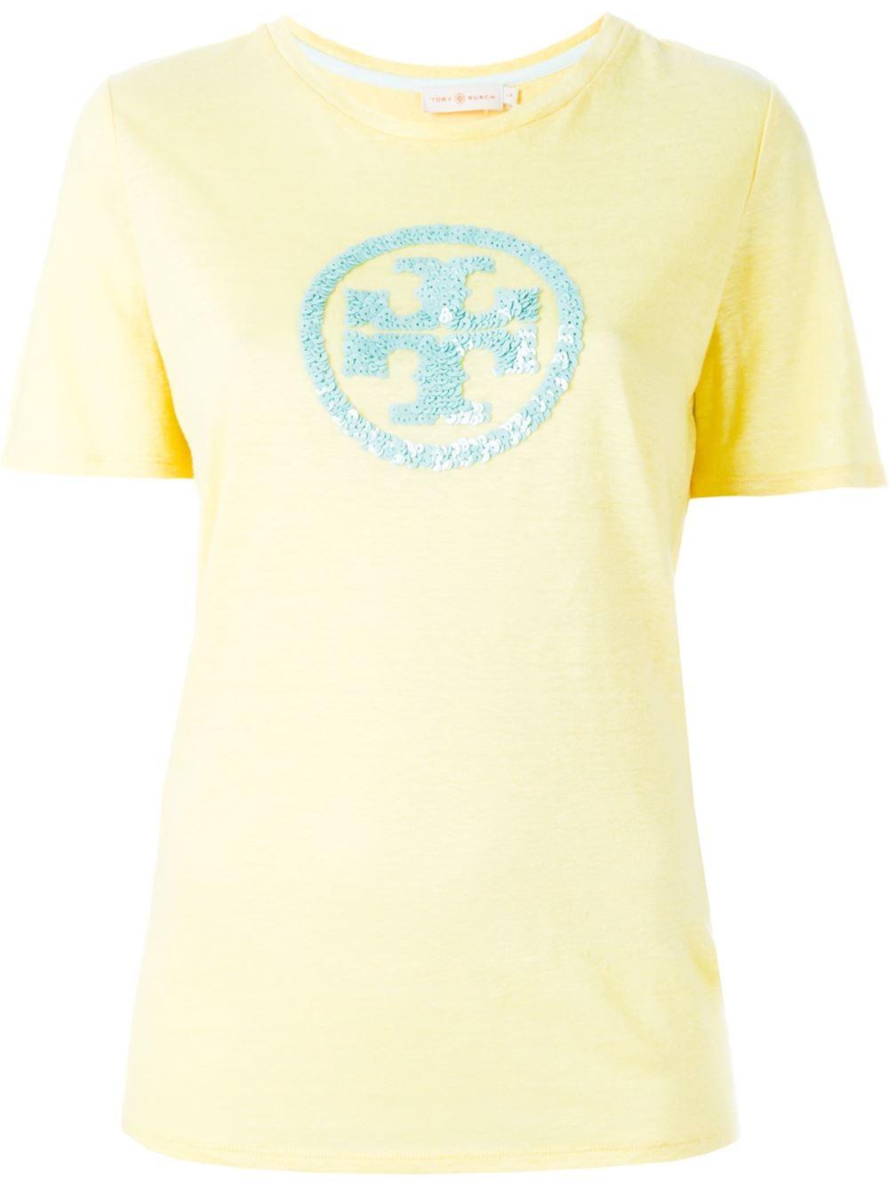 Lyst tory burch sequined logo t shirt for Tory burch t shirt