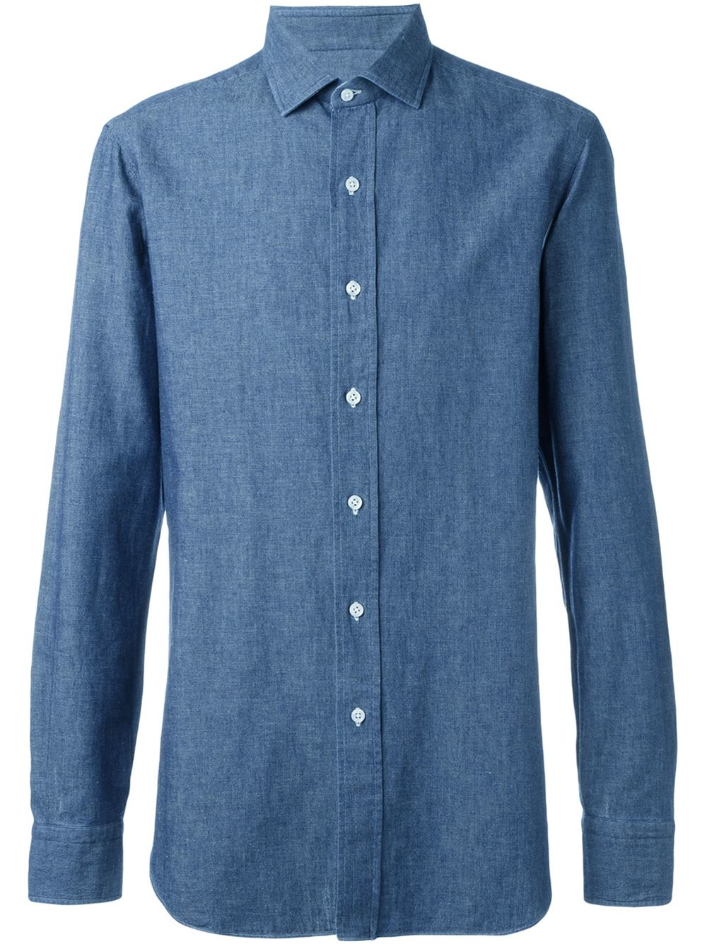 Lyst salvatore piccolo classic button down shirt in blue for Preppy button down shirts