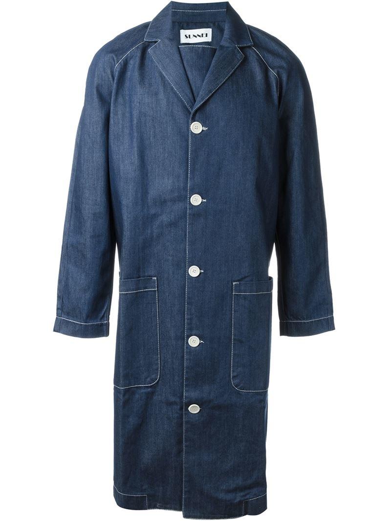 Sunnei Denim Trench Coat in Blue for Men | Lyst