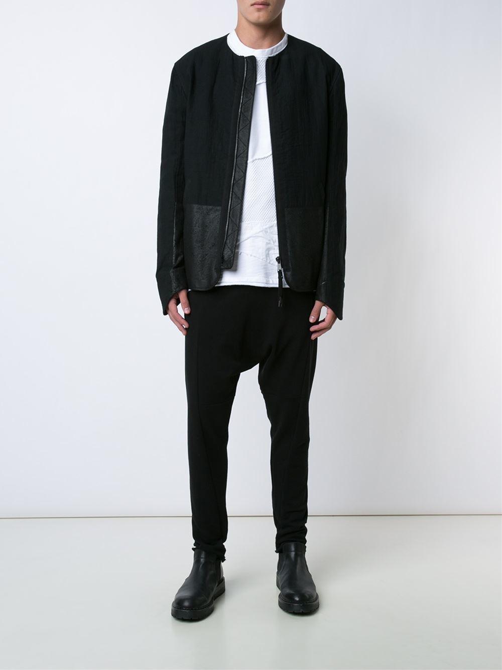 Alexandre plokhov Leather Panel Jacket in Black for Men | Lyst