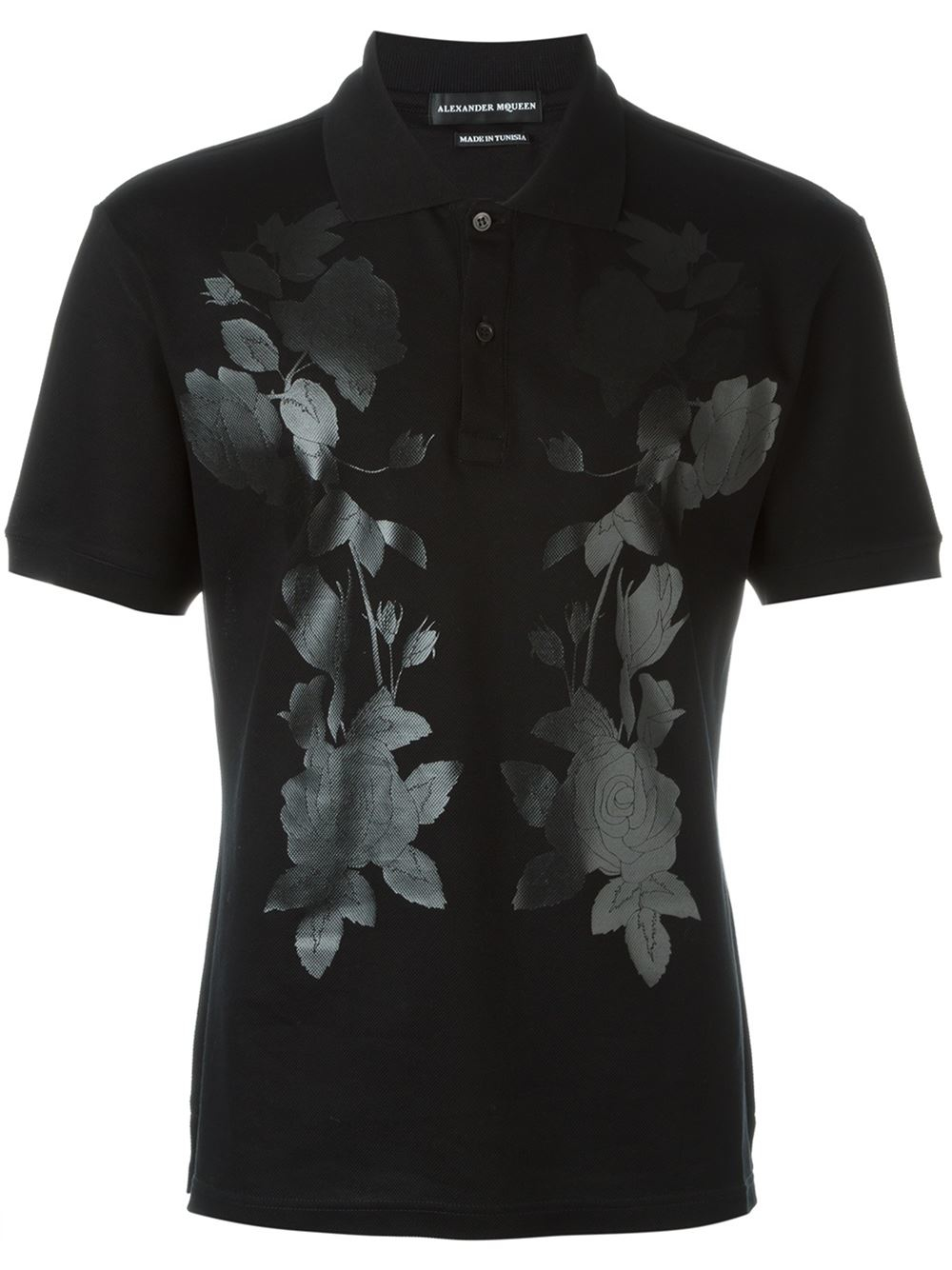 Alexander mcqueen floral print polo shirt in black for men for Alexander mcqueen shirt men