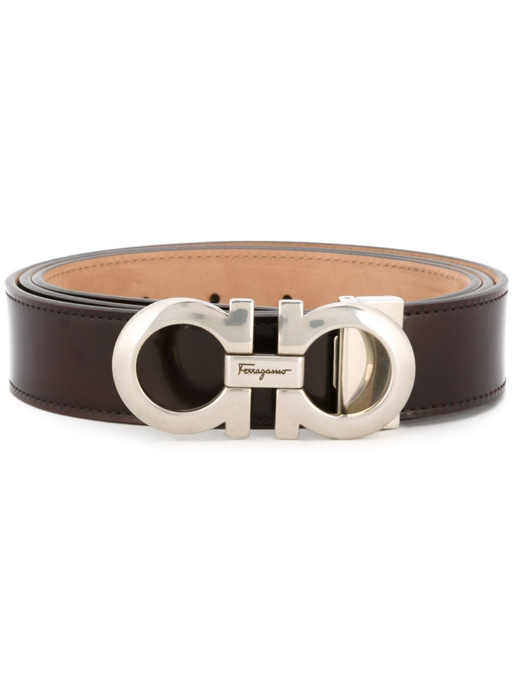 ferragamo gancini buckle belt in brown for lyst