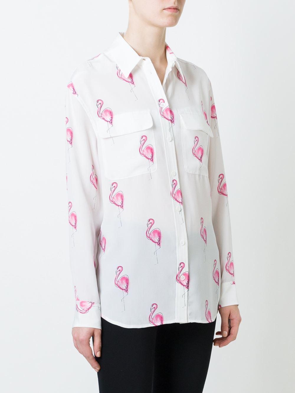 Lyst - Equipment Flamingo Print Shirt in White