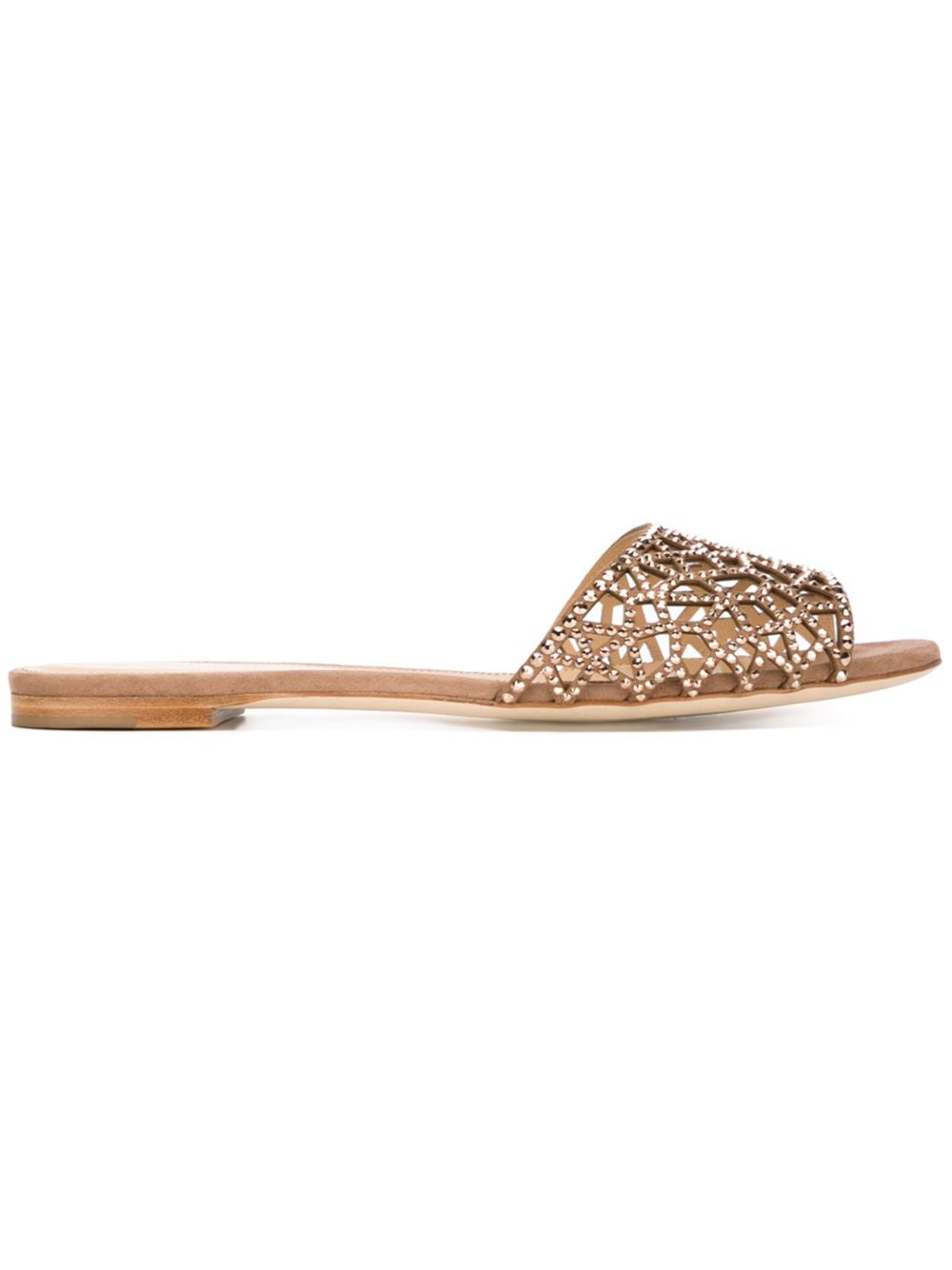 Sergio Rossi Embellished Flat Sandals In Brown | Lyst