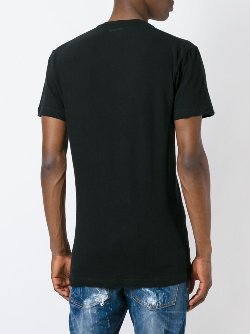 Lyst dsquared pocket v neck t shirt in black for men for Men s v neck pocket tee shirts