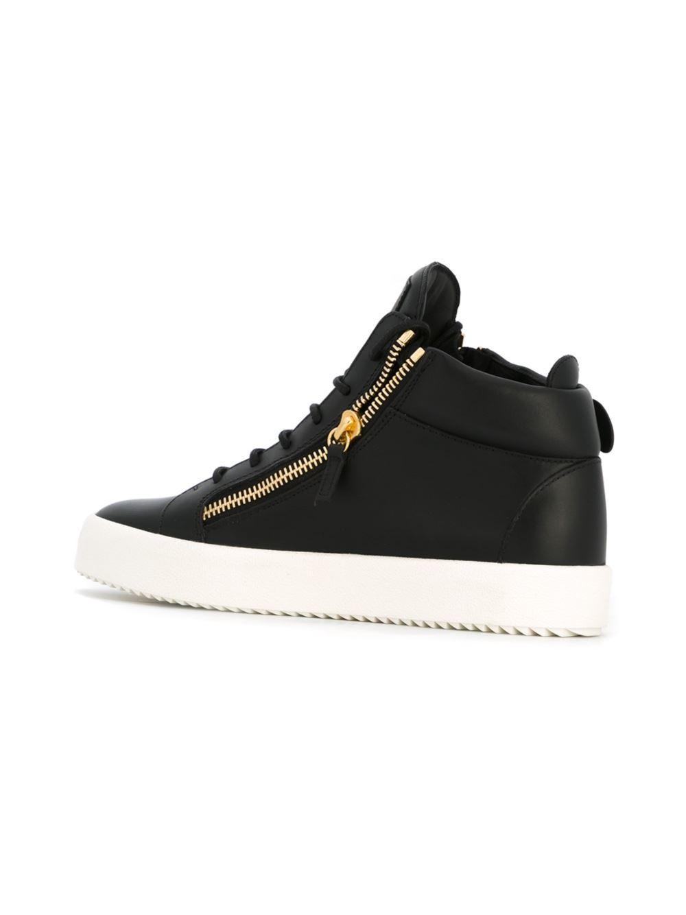 giuseppe zanotti cruel leather hightop sneakers in black