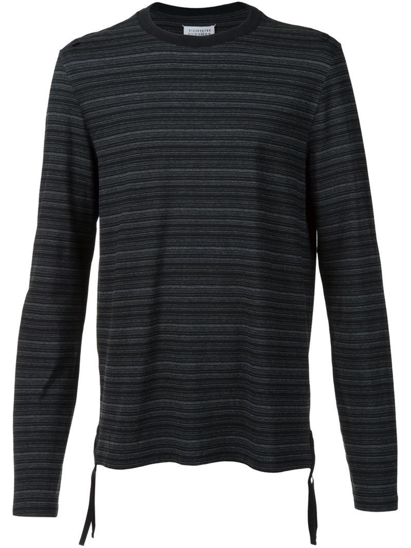 Maison margiela striped long sleeve t shirt in black for for Mens striped long sleeve t shirt