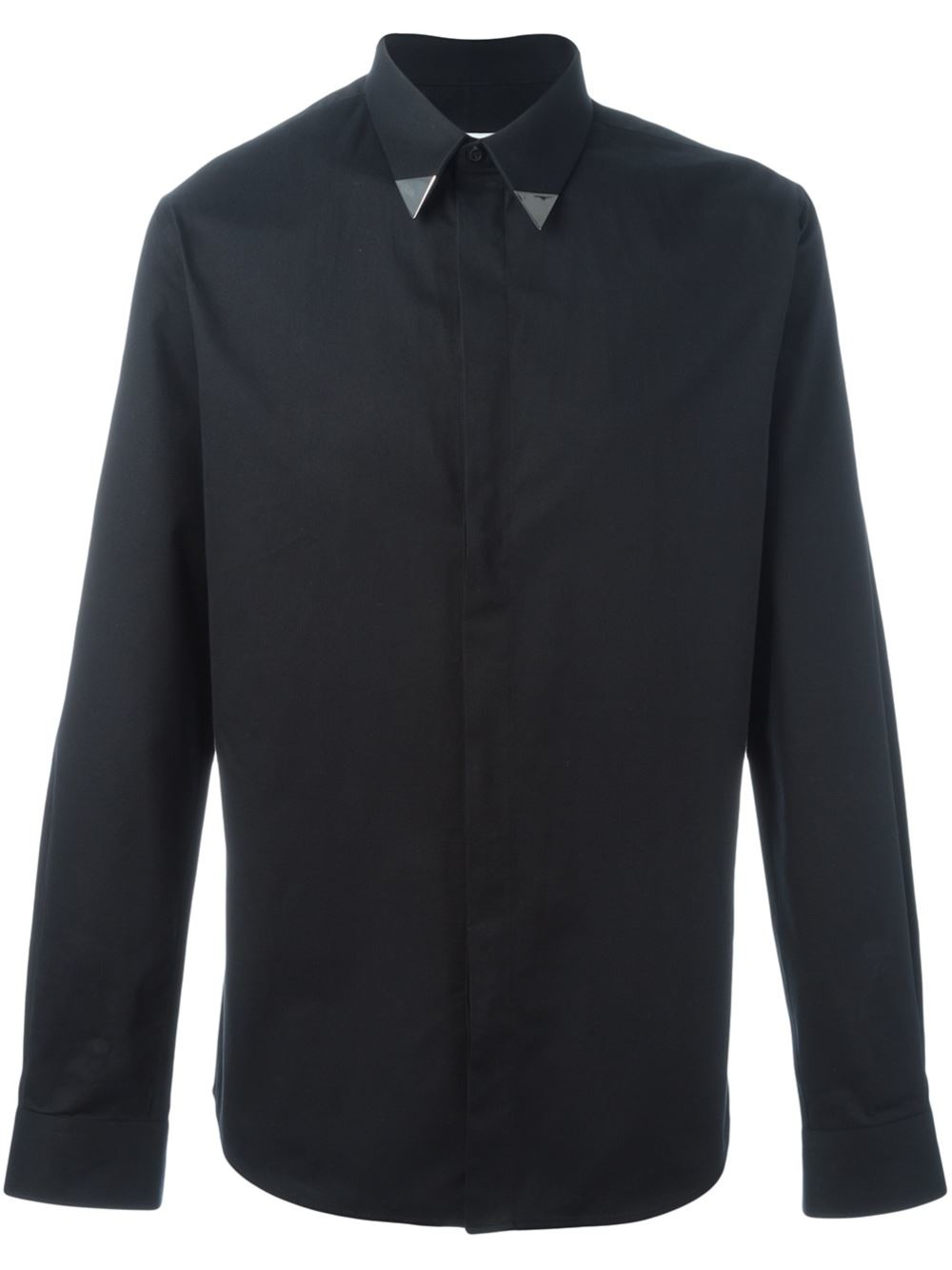 givenchy metallic collar tip shirt in black for men lyst
