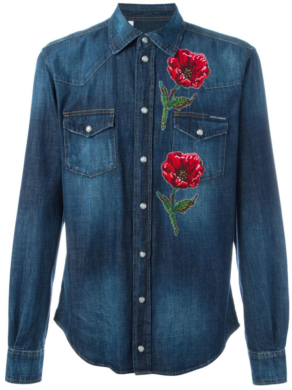 Dolce Amp Gabbana Embroidered Poppy Denim Shirt In Blue For