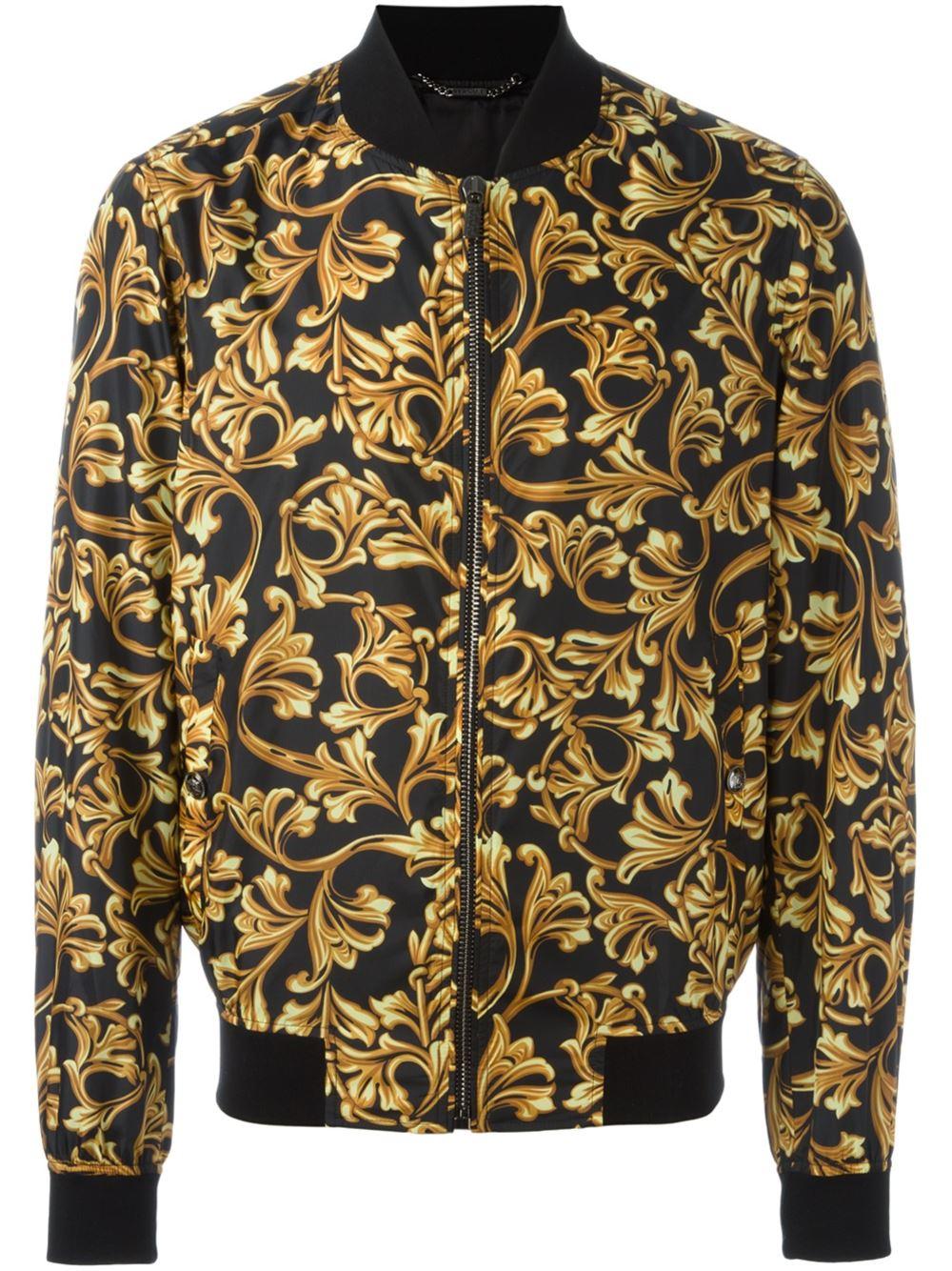 versace baroque print bomber jacket in black for men lyst. Black Bedroom Furniture Sets. Home Design Ideas