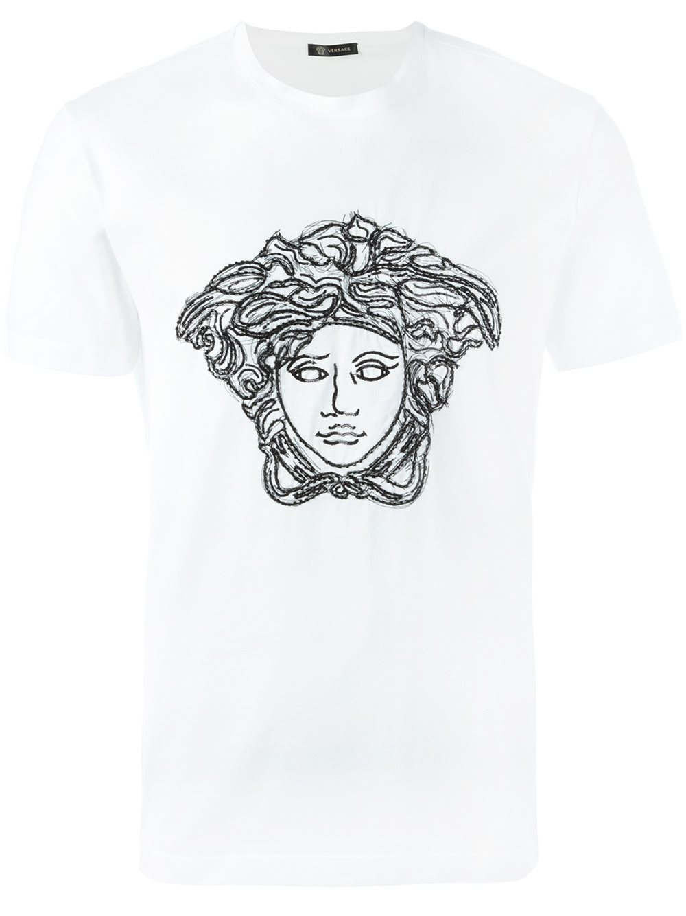 versace threaded sequin 39 medusa head 39 t shirt in white for men lyst. Black Bedroom Furniture Sets. Home Design Ideas