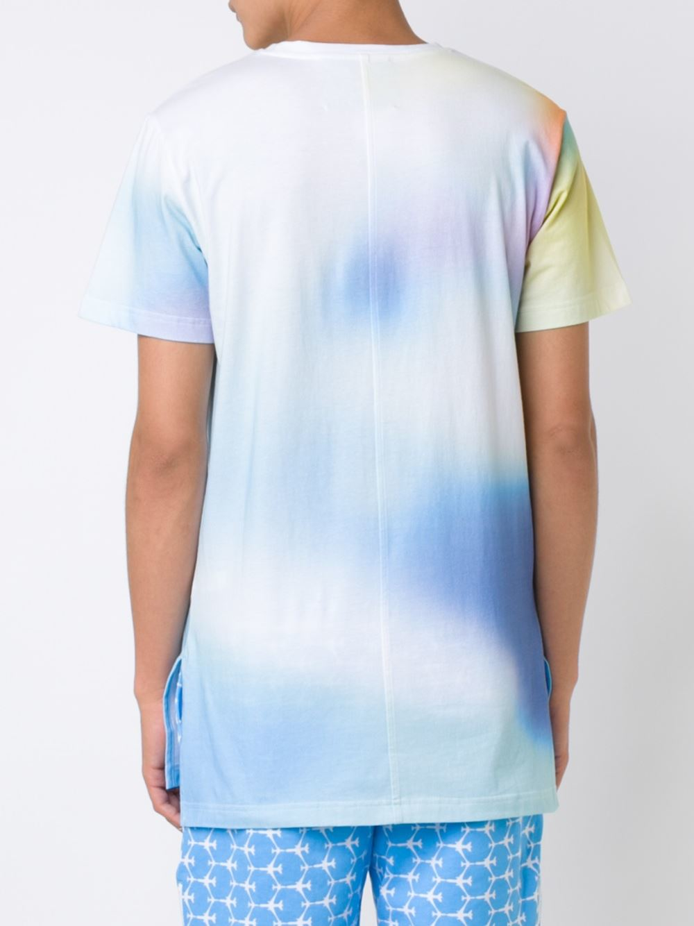 Rochambeau faded print t shirt in blue for men lyst for Faded color t shirts