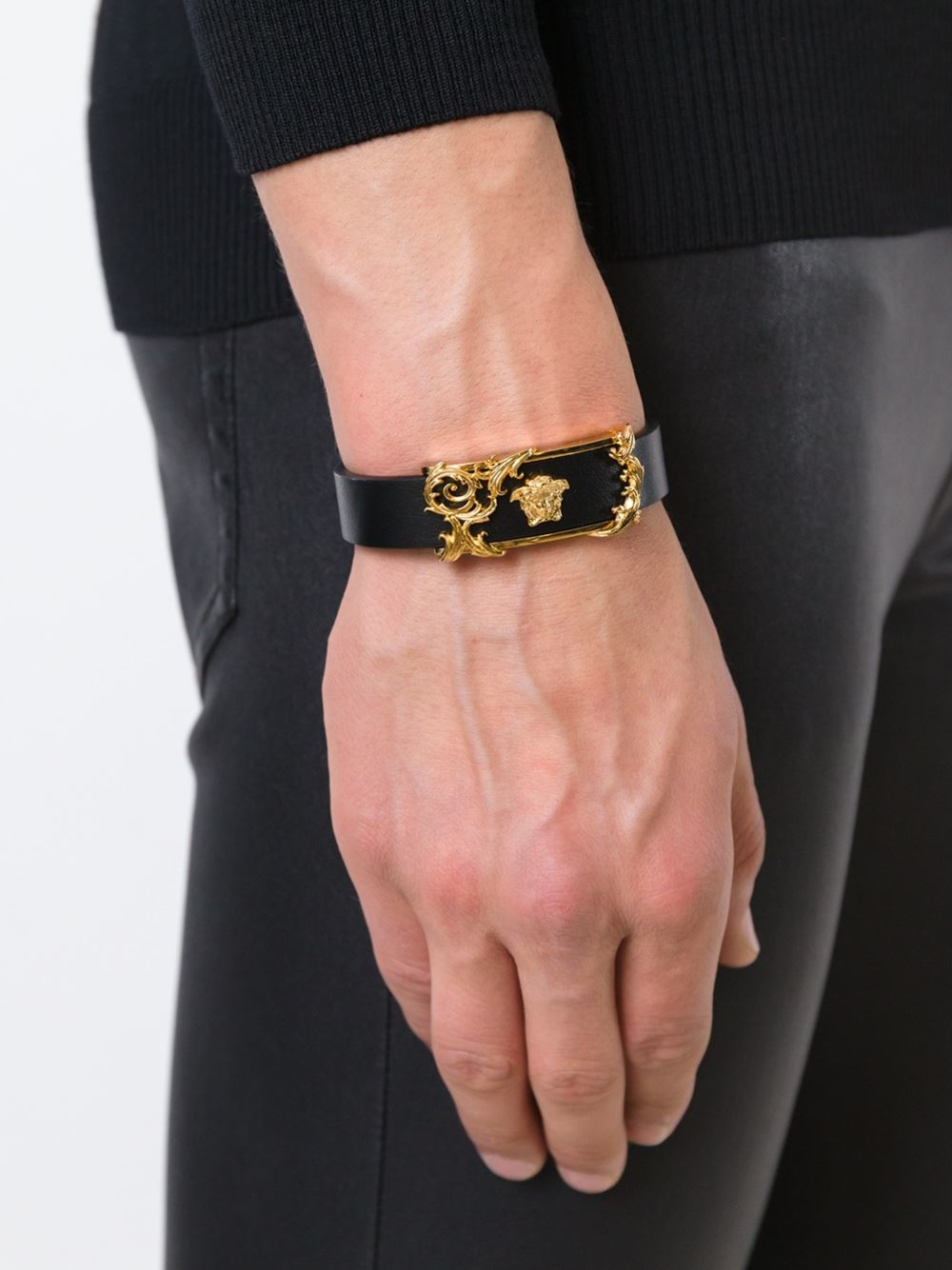 Lyst Versace Medusa Filigree Bracelet In Black For Men