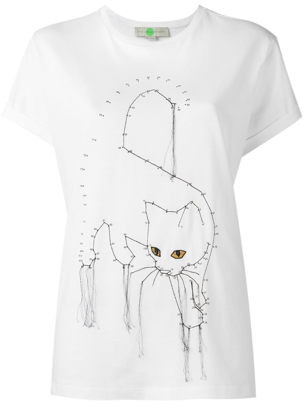 Stella mccartney embroidered cat t shirt in black white for Stella mccartney t shirt
