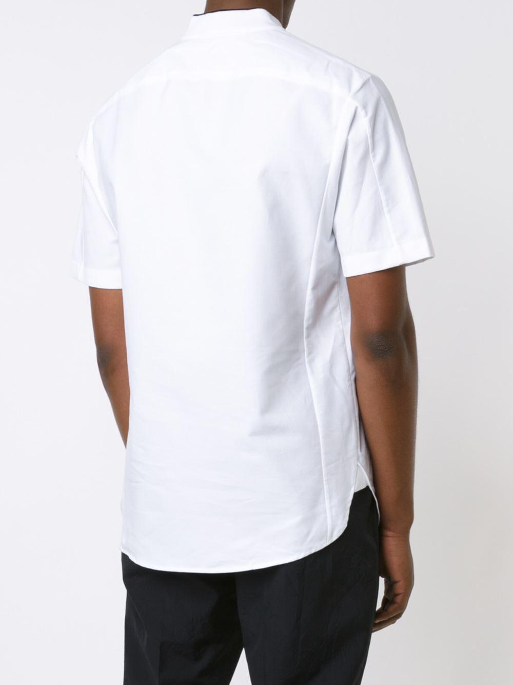 Lyst rag bone band collar shirt in black for men for Rag bone shirt