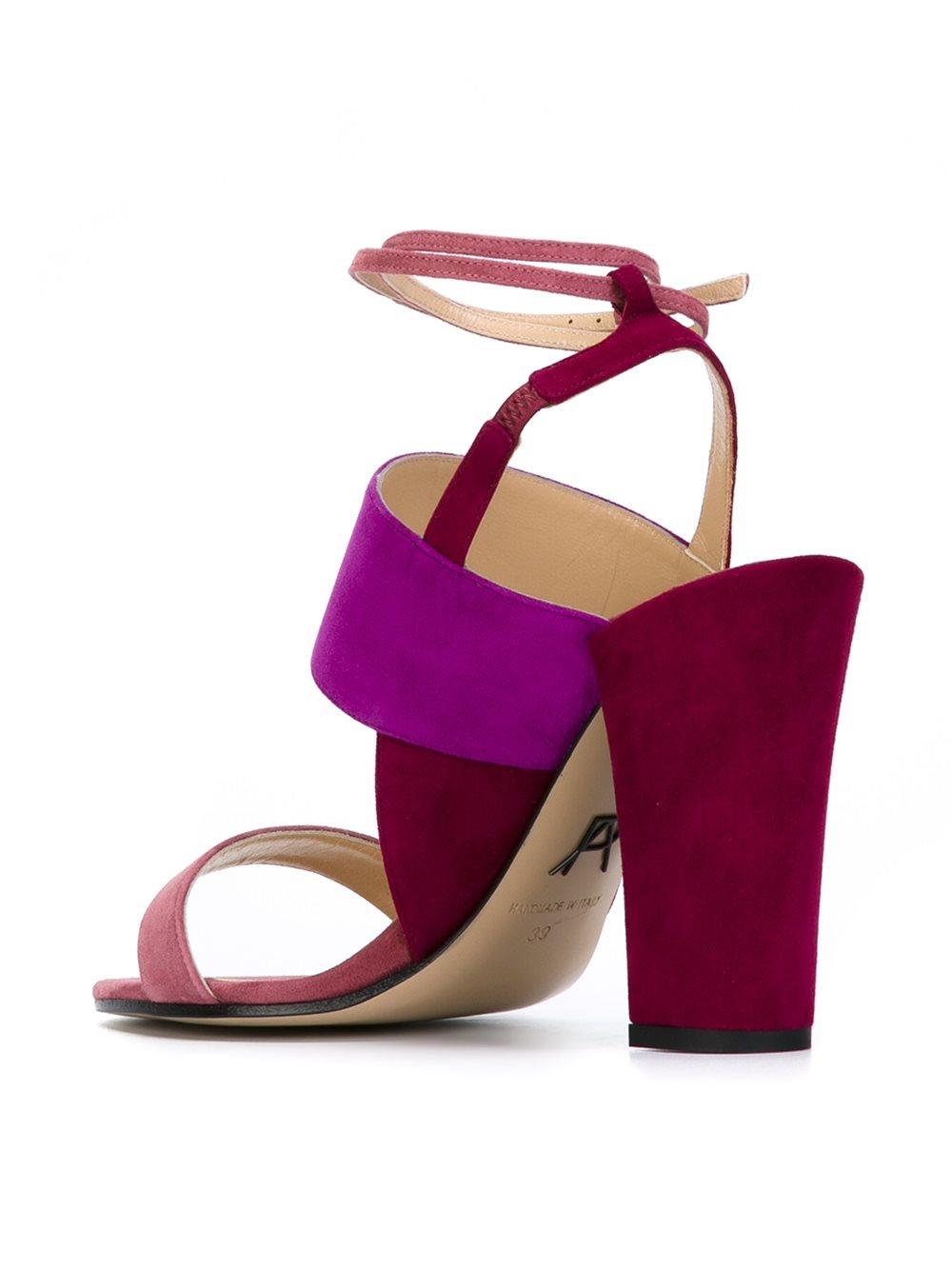 Lyst Paul Andrew Chunky Heel Tonal Sandals In Purple