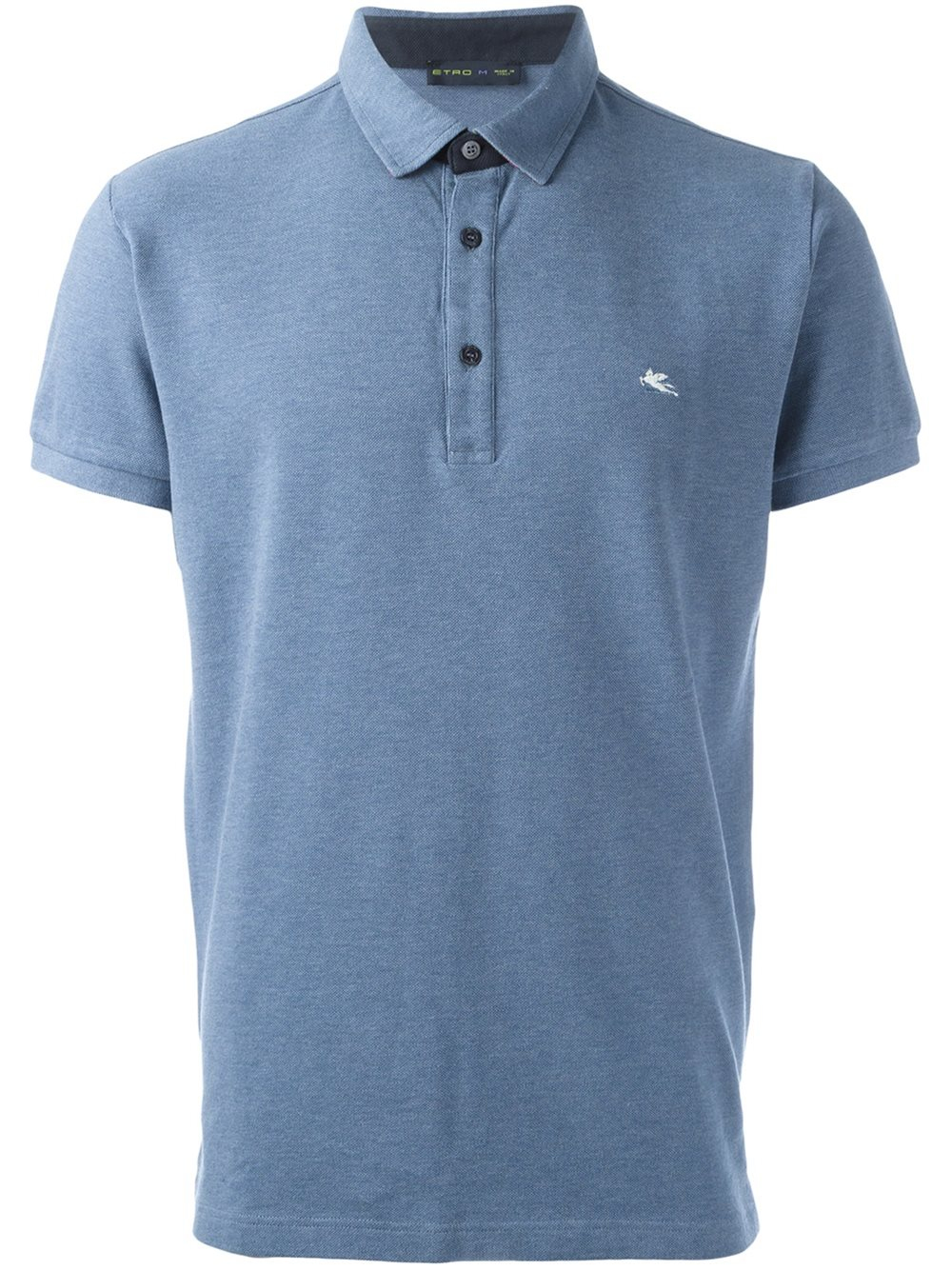 Etro embroidered logo polo shirt in blue for men lyst for Polo shirts with logos